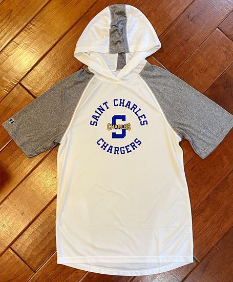 Picture of St. Charles Chargers Unisex Short Sleeve Echo Hoodie by Holloway  222545 - White/Graphite Heather