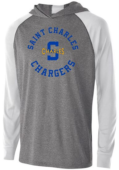 Picture of St. Charles Chargers Unisex Long Sleeve Echo Hoodie by Holloway 222539 - Graphite Heather/White