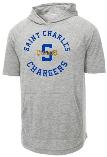 Picture of St. Charles Chargers Unisex PosiCharge Tri-Blend Wicking Short Sleeve Hoodie  by Sport-Tek ST404 - Light Grey Heather