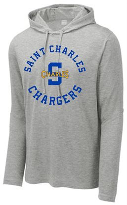 Picture of St. Charles Chargers Unisex PosiCharge Tri-Blend Wicking Long Sleeve Hoodie  by Sport-Tek ST406 - Light Grey Heather