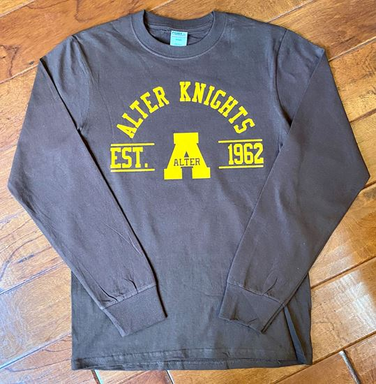 Picture of Alter Knights Est. Logo Unisex Long Sleeve Tee by Port & Company PC61LS - Brown