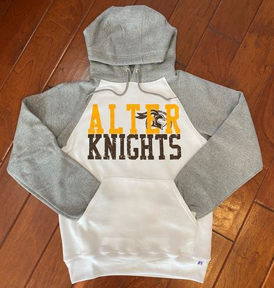 Picture of Alter Knights Unisex Raglan Hooded Sweatshirt by Russell 693HBM - White/Grey