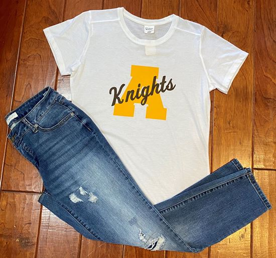 Picture of Knights Ladies Tri-Blend Tee Shirt by Augusta 3067 - White