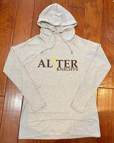 Picture of Alter Knights Ladies Featherweight French Terry Hoodie by District DT671 - Light Heather Grey