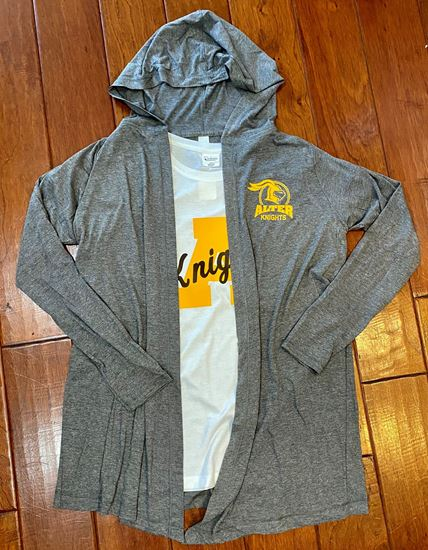 Picture of Alter Knights Halo Left Chest Ladies Hooded Cardigan by District DT156  - Grey Frost