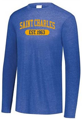 Picture of St. Charles Unisex Triblend Long Sleeve Tee by Augusta 3075 - Royal Heather