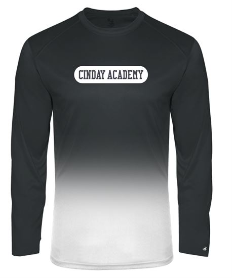 Picture of CinDay Youth Ombre Long Sleeve Dri-fit Tee by Badger 2204 - Red Ombre or Black Ombre