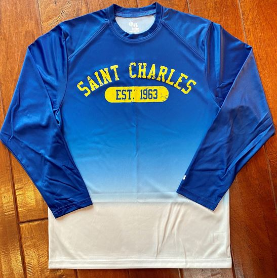 Picture of St. Charles Youth Ombre Long Sleeve Dri-fit Tee by Badger 2204 - Royal Ombre