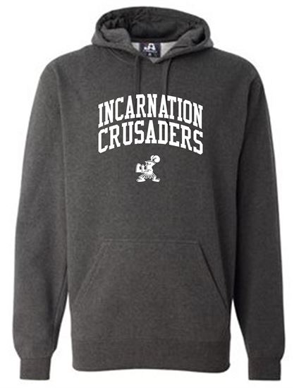 Picture of Incarnation Unisex  Premium Hooded Sweatshirt By J. America 8824 - Heather Charcoal