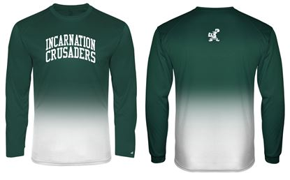 Picture of Incarnation Unisex Ombre' Wicking Long Sleeve Tee By Badger 4204 - Hunter Green or Gold