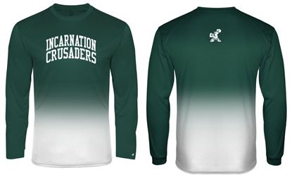 Picture of Incarnation Youth Ombre' Wicking Long Sleeve Tee By Badger 2204 - Hunter Green or Gold