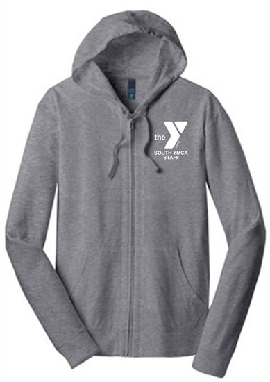 Picture of YMCA Unisex Ring Spun Cotton Jersey Full-Zip Hoodie by District DT1100