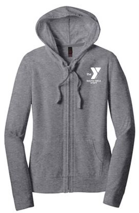 Picture of YMCA Women's Fitted Ring Spun Cotton Jersey Full-Zip Hoodie by District DT2100