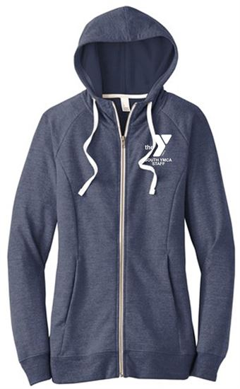 Picture of YMCA Women's Perfect Ring Spun Cotton Tri French Terry Full-Zip Hoodie by District DT456 - New Navy