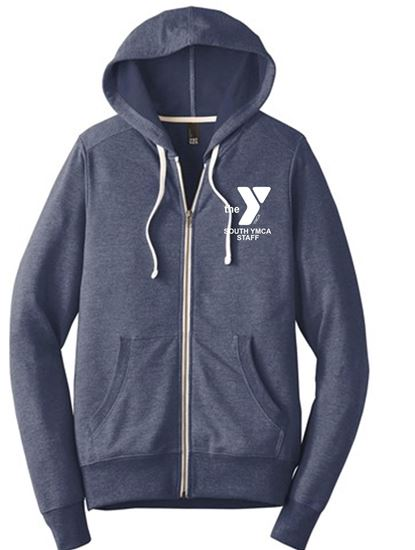 Picture of YMCA Unisex Perfect Ring Spun Cotton Tri French Terry Full-Zip Hoodie by District DT356 - New Navy