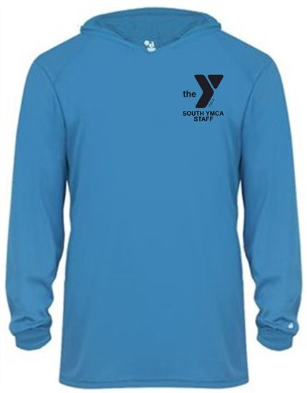 Picture of YMCA Unisex Dri Fit Long Sleeve Hooded T-Shirt by Badger 4105