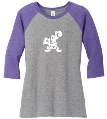 Picture of Incarnation Ladies Raglan 3/4 Sleeve Tee by District DM136L - Purple Frost/Grey Frost