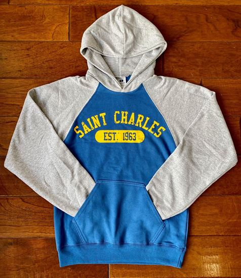 Picture of St. Charles Youth Banner Hoodie by Holloway 229279 Royal/Athletic Heather