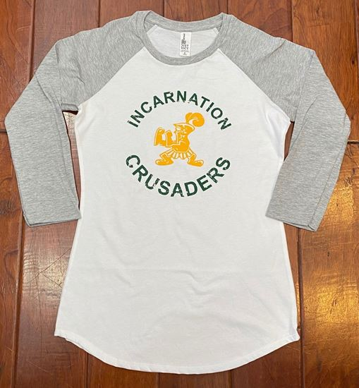 Picture of Incarnation Crusaders Youth Raglan 3/4 Sleeve Tee By District Made DT6210Y - White/Grey