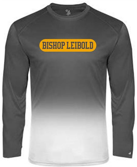 Picture of Bishop Leibold Youth Ombre Long Sleeve Dri-fit Tee by Badger 2204 - Graphite Ombre or Royal Ombre