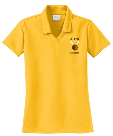 Picture of Alter Girls Lacrosse Ladies Nike Dri-FIT Micro Pique Polo 354067 - Gold or Wolf Grey