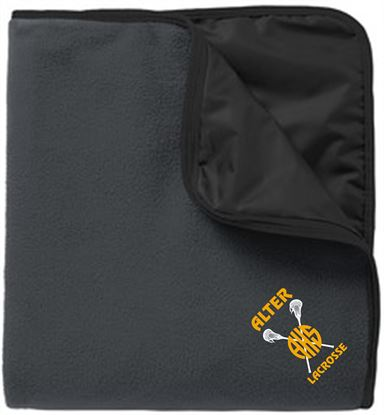 Picture of Alter Girls Lacrosse Fleece & Poly Travel Blanket by Port Authority TB850 - Lead Grey/Black
