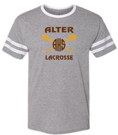 Picture of Alter Girls Lacrosse Unisex Triblend Varsity Ringer T-Shirt by Jerzees 602MR - Oxford/White