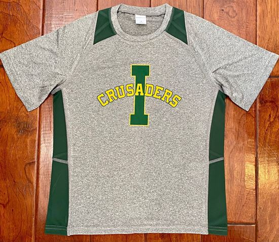 Picture of Crusaders Youth Colorblock Wicking Short Sleeve Tee by Sport Tek YST361 - Vintage Heather/Forest Green