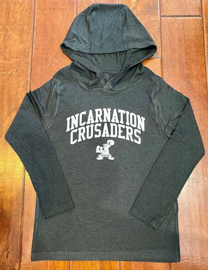 Picture of Incarnation Unisex Hooded Long Sleeve Tee By District DT139-Black Frost