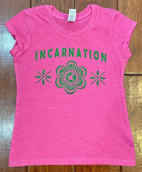 Picture of Incarnation Ladies GLITTER Flower Tee by District DT6002 - Fuchsia Frost
