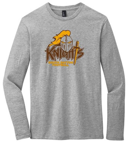Picture of South Dayton Knights Football Unisex Long Sleeve Tee by District DT6200 - Light Heather Grey