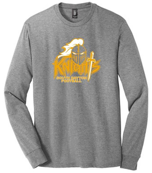 Picture of South Dayton Knights Football Unisex Long Sleeve Tee by District DM132 - Grey Frost