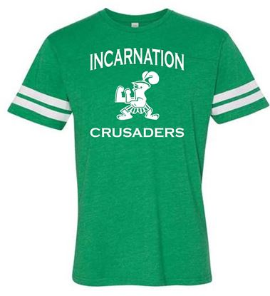 Picture of Incarnation Crusaders Youth Football Jersey Tee by LAT Apparel 6137 - Vintage Green/White