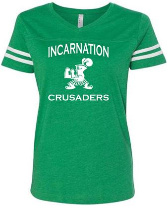 Picture of Incarnation Crusaders Ladies Football Jersey Tee by LAT Apparel 3537 - Vintage Green/White