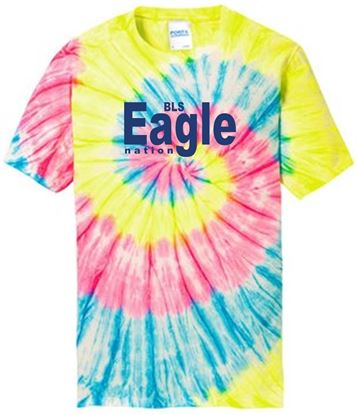 Picture of BLS Eagle Nation Youth Tie-Dye Short Sleeve T-Shirt  by Port & Company PC147Y - Neon Rainbow