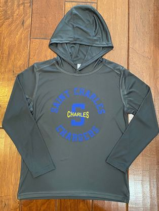 Picture of St. Charles Chargers Youth Long Sleeve PosiCharge Hooded Pullover by Sport-Tek YST358 - Iron Grey