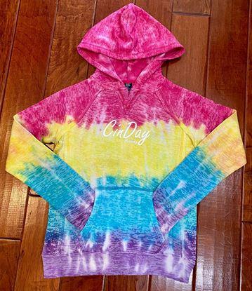 Picture of CinDay Academy Girls V-Notch Hooded Sweatshirt by MV Sport W1162Y - Rainbow Stripe